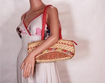 Straw hadbag - Straw shoulder bag - Straw purses - Beach bag - Tote bag - Market bag - Vintage straw shoulder bag - Retro summer bag