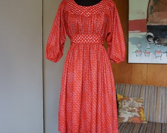 1970's Vintage Handmade Red 3/4 Sleeve Empire Waist Dress with a Red Floral Contrast Print Size S/M