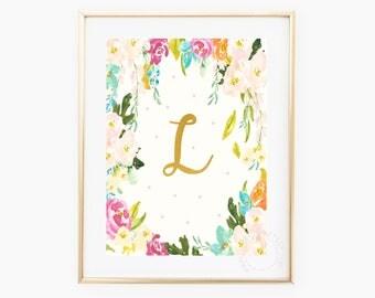 Gold Floral Monogram, L, Printable Floral Monogram, Gold Monogram, Watercolor Monogram, Printable Letters, Printable Floral Letters