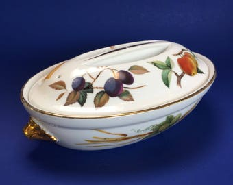 "9 1/4"" Royal Worcester Evesham Gold Covered Oval Casserole Baking Serving Dish"