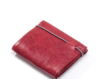red leather wallet woman - womens wallet - red wallet - credit card wallet - cool wallet for her - birthday gift for her - RUBBERW