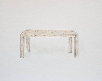 CEH Label: Burlwood Dining Table