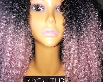Human Hair Blend Natural Twist Wig, Ombre Violet Pink/Lavender Curly Wig