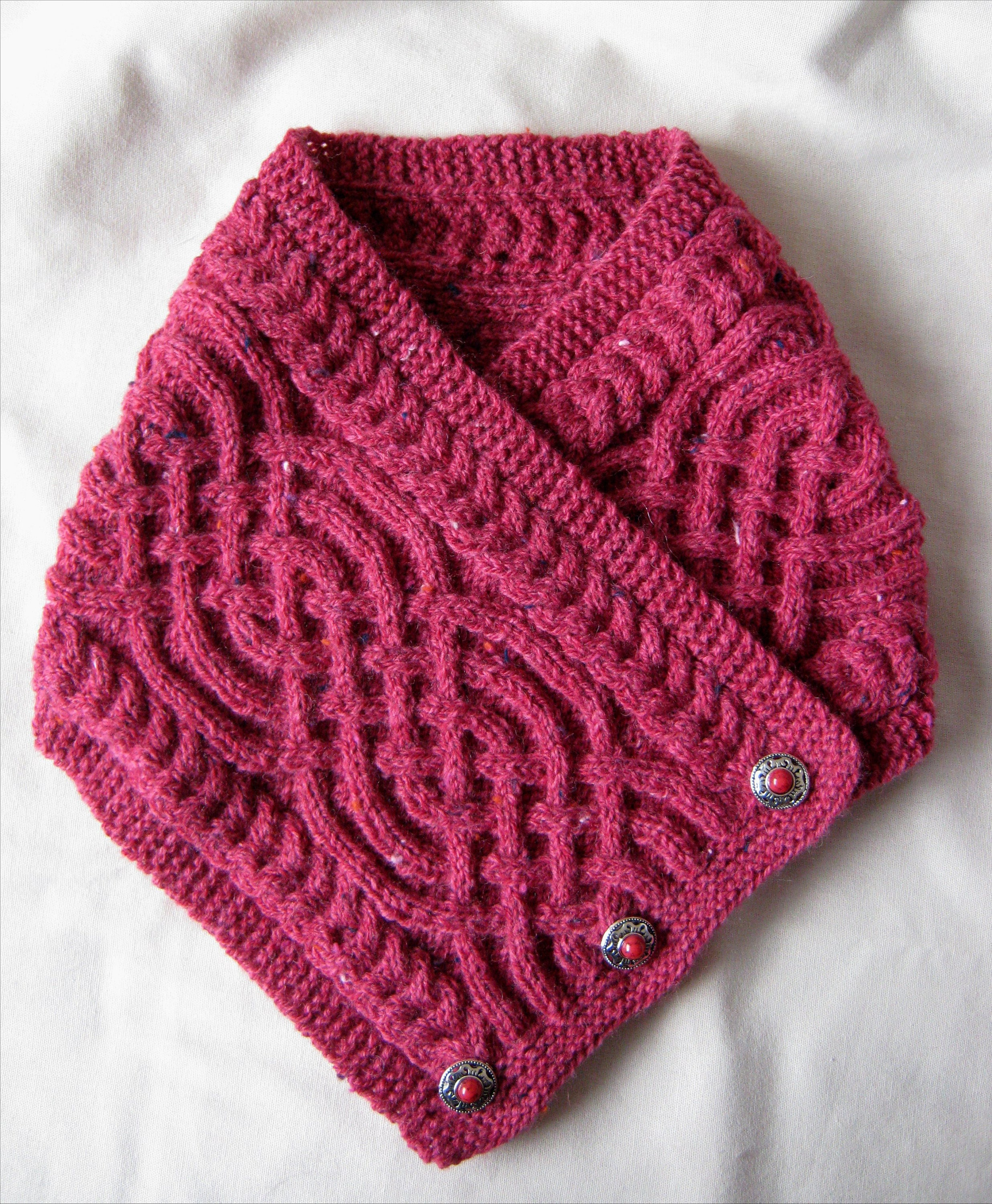 1a3f1f3583c8bf Hand knitted rose red Saxon Braid pattern Celtic cable neckwarmer with wood  button fastening - nylon wool acrylic viscose mix  E10190947031520344M  -   19.99 ...