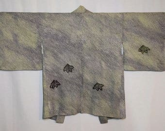 Women's  vintage, purple and green bokashi shibori Haori kimono jacket -bamboo