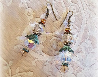 Vintage Crystal Glass Bead Earrings, Dangle Earrings, Green Patina Beadcaps, Assemblage Earrings, Upcycled and Repurposed Jewelry