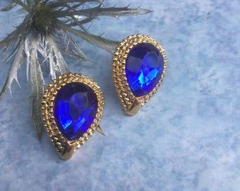 Royal blue earrings, studs, new old earrings, under 10, gift for her, stocking stuffer, chunky earrings, Christmas gift, blue post earrings