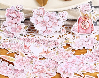 20PCS Watercolour Sakura / Japanese cherry blossom Stickers planner stickers die cut watercolor stickers D2