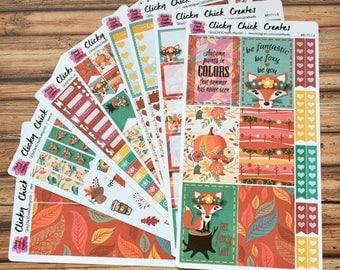 FOXY FALL KIT! Planner stickers, fox, leaves, fall, pumpkin, Inkwell, eclp, Happy Planner {#K1711}