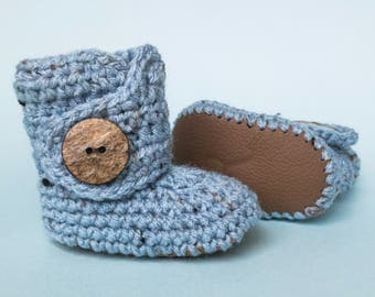 Crochet Baby Booties, Gender Neutral Boots, Baby Blue Leather Shoes, New Infant Uggs, Brown Newborn Shoes, Coming Home Outfit, Unisex Booty