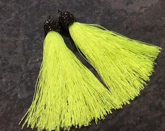 SALE Yellow silk tassels with decorative beaded silver cap Beautiful tassels for Jewelry Making