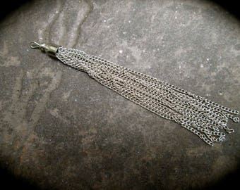 Long Silver Tassel Pendants  Antique Silver metal chain silver finish tassel charms 3 1/4""