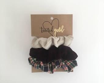 Autumn Flannel Scrunchies
