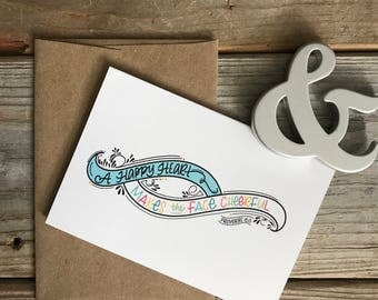 card // A HAPPY HEART, Greeting Card, Hand-Lettered, Just Because, Thinking of You, Any Occasion, Scripture, Bible Verse, Blank, Proverbs