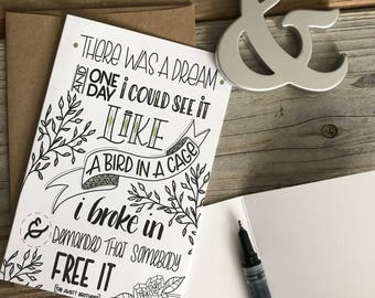 card // ONE DAY, Greeting Card, Hand-Lettered, Just Because, Thinking of You, Any Occasion, Scripture, Quote, Song, Blank