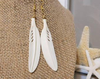 Feather Earrings | Ox Bone Earrings | White Earrings