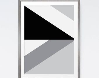 Abstract Art Print, Geometric Poster, Mid Century Modern, Modern Abstract, Geometric Printable, Large Abstract, Black and White