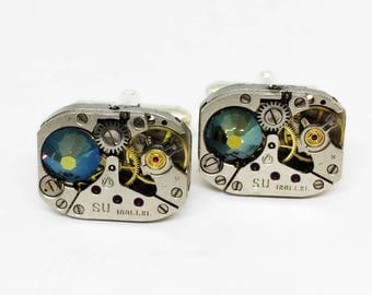 Cuff Links gift-for-men, Steampunk Cuff Links/ for husband/boyfriend gift/geek gift/gift for/industrial/ Steampunk Wedding, Groomsman gift