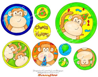 Cheeky Monkey Party - New Years - Birthday - Downloadable Clip Art - Cute Hand Drawn Design - Printable Art - Card Making - Scrapbooking
