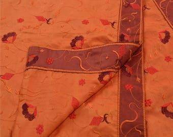 KK Dupatta Long Stole Orange Art Silk Shawl Embroidered Scarves