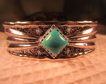 Tribal Sterling Silver Turquoise Cuff Bracelet RESERVED
