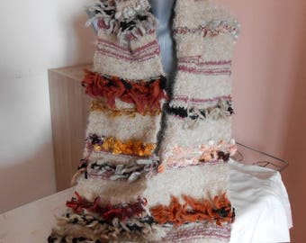 """""""Odyssey"""" chunky knit, mohair and handspun wool scarf."""