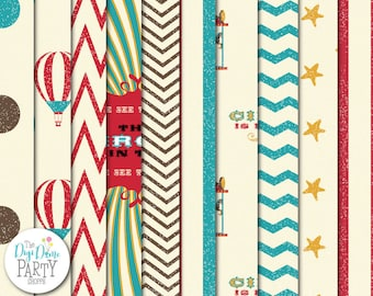 Vintage Circus Digital Scrapbooking Paper Pack, Buy 2 Get 1 FREE. Instant Download