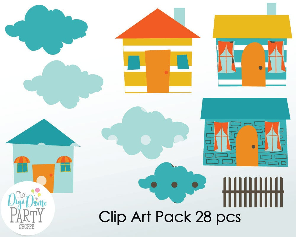 Houses digital scrapbooking clip art buy 2 get 1 free for Buy digital art online
