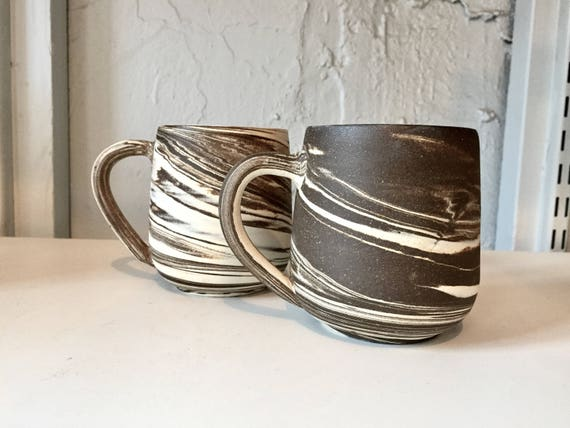 ceramic coffee mug-marble  design - Brown and white- NEW!