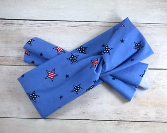 Patriotic Top Knot Sassy (size ~6 months-adult, read below for info); The Sassy Olive; top knot headband; wide headband; tie headband; boho
