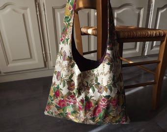Reversible bag with flowers/plum bi-material with Pocket