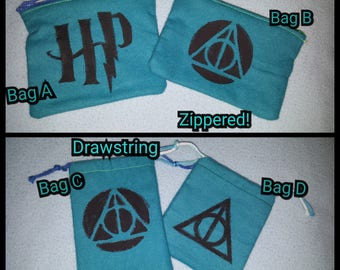 Drawstring Bags - Acrylic Painted Harry Potter Symbols
