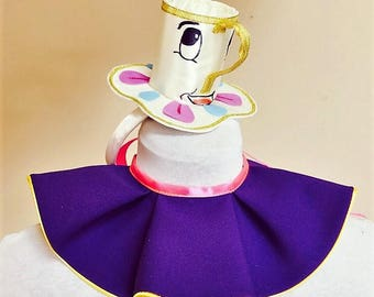 Inspired by Mrs. Potts head piece and collar .Belle and Chip / Mrs Potts inspired set ,Halloween costume