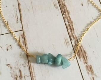 Turquoise Quartz Gemstone Chip 14kgf Necklace