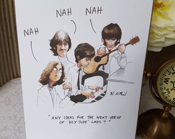 Hey Jude Greeting card for Beatles lovers everywhere, 70's style Beatles card for him, Paul, Ringo, John and George 70's style fun greeting