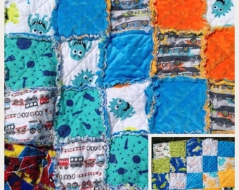 Custom Baby Rag Quilt, design your own blanket for babbies, toddlers, & kids, handmade, made to order
