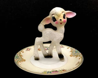Upcycled/Hand-crafted/Vintage Fawn Ring Holder/Trinket Dish/Ring Dish/Deer/Valentine's Day/Free Shipping