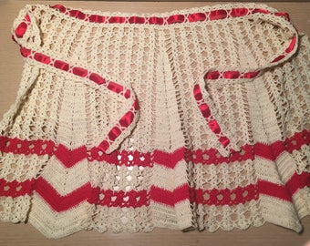 Vintage Crocheted Red and White Apron with Ribbon Detail