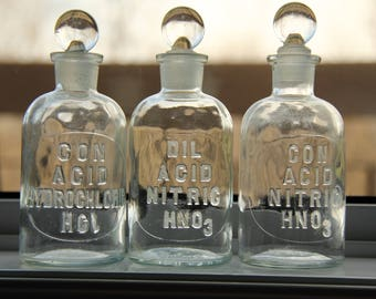 Vintage Embossed Glass Chemistry Apothecary Bottles w/Stoppers