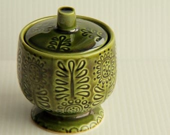 Funky 1970s Avocado Green Sugar Bowl With Lid