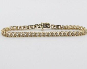 14K Yellow Gold Diamond Tennis Bracelet 7 1/4 Inches 1.00 carat