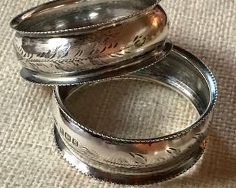 Pair of Antique English Sterling Napkin Rings