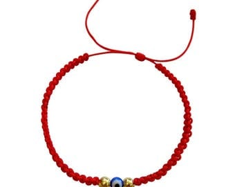 Evil Eye Bracelet, With Red String for Protection • Adjust to All Sizes • Waterproof • Long Lasting String • Best Quality Braiding