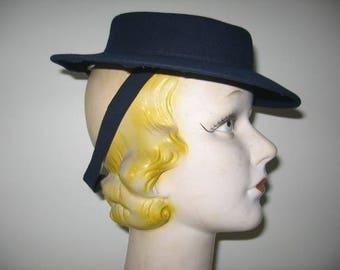 1930's Navy Blue Wool Felt Sailor Hat!