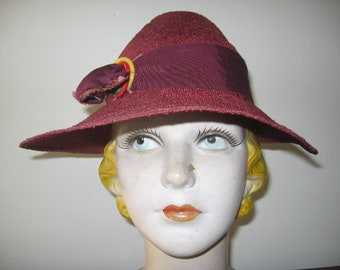 New Listing / 1930's Mulberry Boucle Wide Brim Fedora!