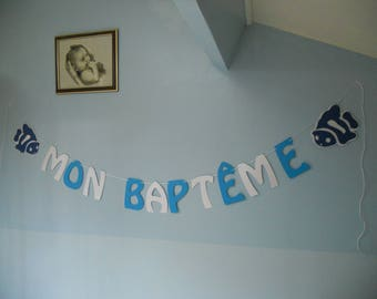 Banner baptism decoration fish 3D communion birthday blue and white