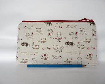 Cats zipper pouch, Kitten Make up bag, cats pencil case, Kids pouch, Back to school, gift for girl, White red, Cosmetic bag, Small pouch