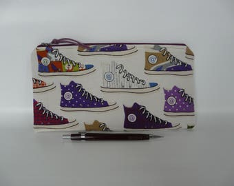 Sneakers pencil case, Boys and girls  pencil case, Small pouch, Gadget pouch, sneakers print, School supplies, Makeup bag, Geek bag