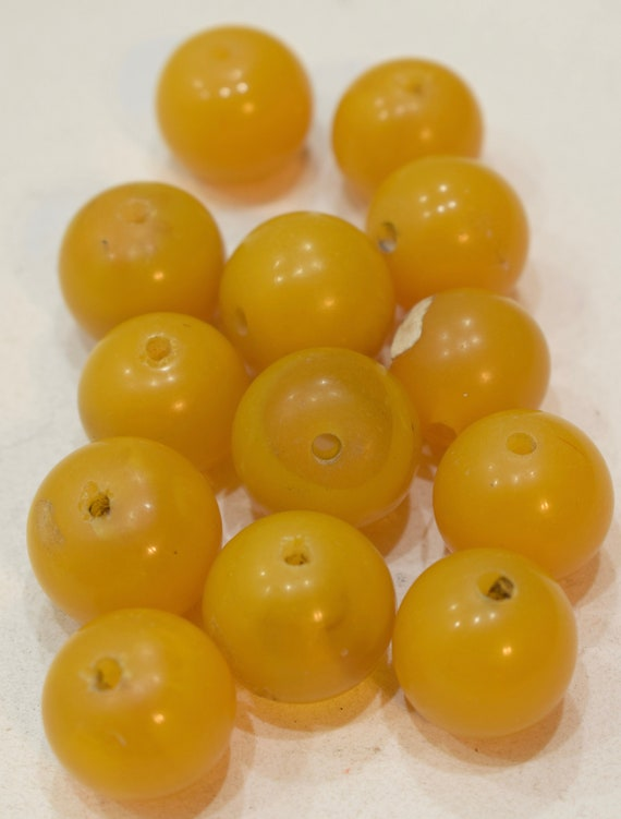 Beads Yellow Copal Amber Round Vintage Beads 20mm