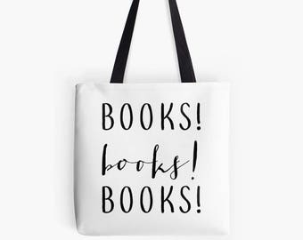 books books books library books tote bag eco friendly tote, reading gift, reading tote, bookish gifts, gift for book lovers,